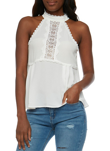 Sleeveless Halter Neck Top with Crochet Detail,WHITE,large