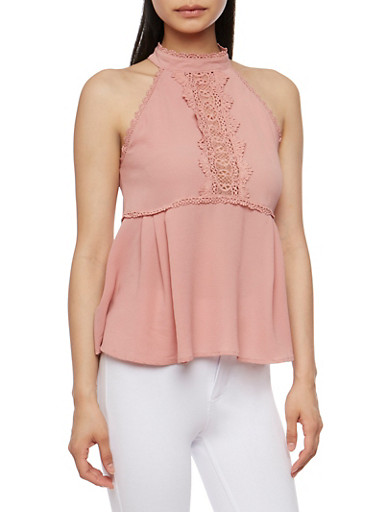 Sleeveless Halter Neck Top with Crochet Detail,MAUVE,large