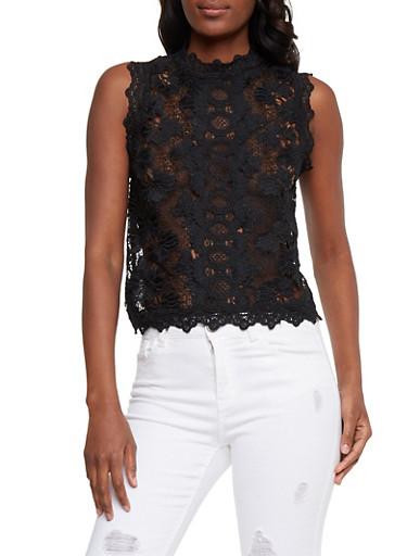 Sleeveless Lace Mock Neck Top,BLACK,large
