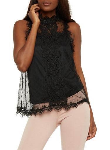 Sleeveless Swiss Dot Lace Top,BLACK,large