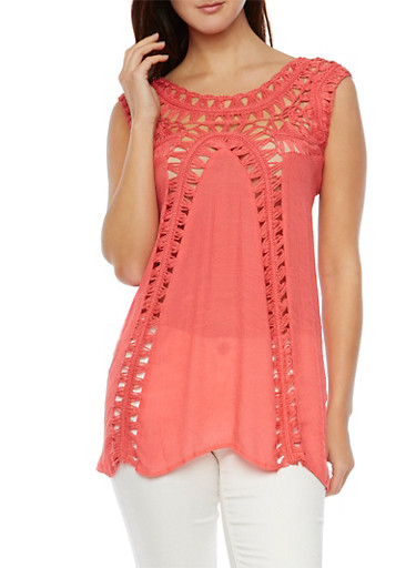 Sleeveless Tunic Top with Crochet Panels,CORAL,large