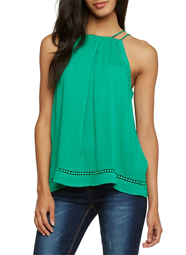 Tank Top with Crochet Trim,KELLY GREEN,large