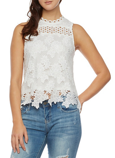 Sleeveless Crochet and Lace Top,IVORY,large