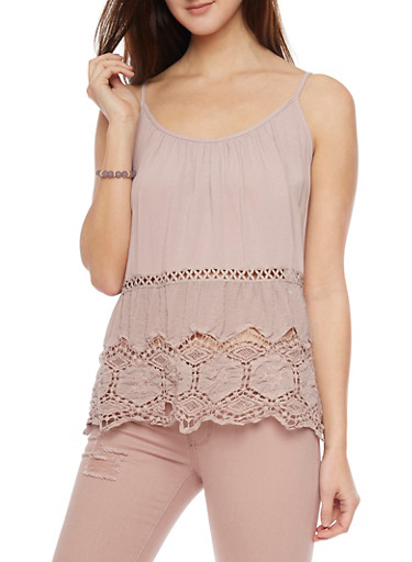 Tank Top with Crochet Cutout Details,TAUPE,large