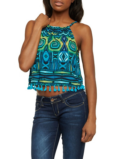 Crop Tank Top in Tribal Print with Fringe,BLUE,large