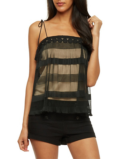 Sheer Lined Cami with Crochet Trim,BLACK,large