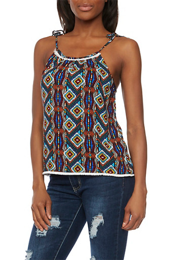 Tank Top in Tribal Print with Crochet Trim,RYL BLUE,large