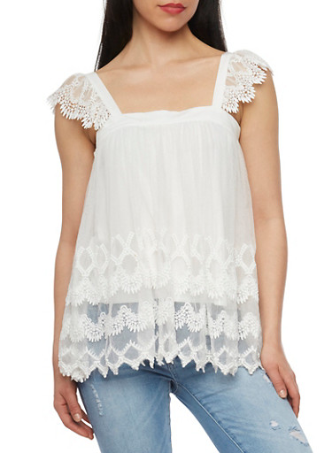 Tiered Crocheted Mesh Top with Flutter Sleeves,OFF WHITE,large