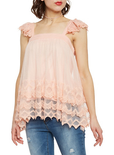 Tiered Crocheted Mesh Top with Flutter Sleeves,BLUSH,large