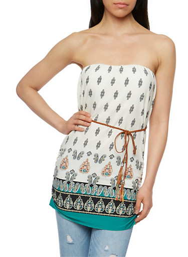 Printed Padded Strapless Top with Braided Belt,IVY/OLIVE,large