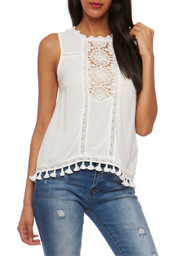Sleeveless Soft Knit Top with Crochet Inserts,WHITE,large