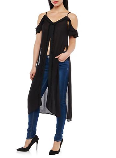 Gauze Knit Fringe Trim Maxi Top,BLACK,large