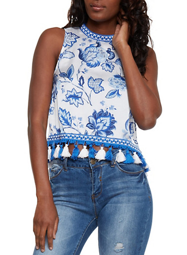 Floral Print Satin Top with High Low Tassel Hem,BLUE/WHT,large