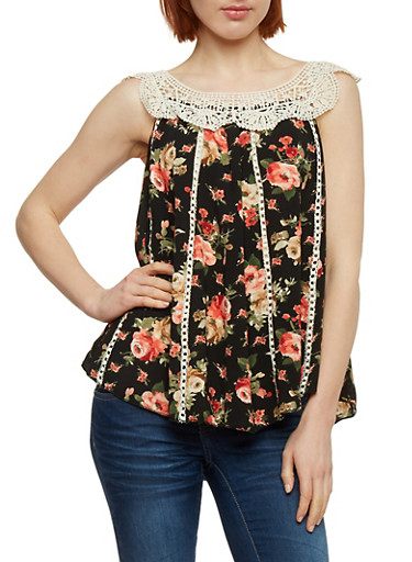 Floral Crochet Yoke Top,BLACK,large