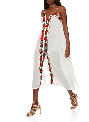 Embroidered Gauze Knit Sleeveless Maxi Top,IVORY,large