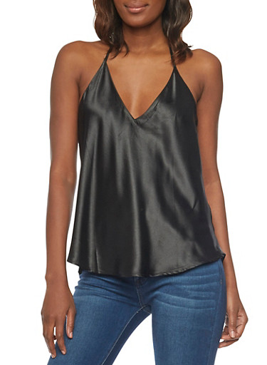 Satin V Neck Tank Top with Open Back,BLACK,large