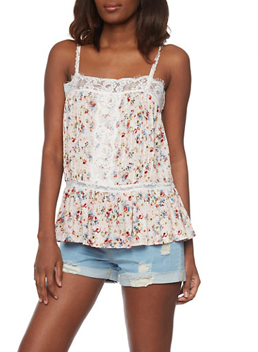 Floral Cami Top with Flounce Hem and Lace Detail,BLUSH,large