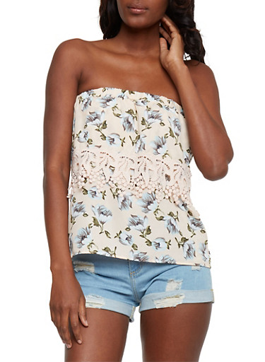 Strapless Floral Top with Crochet Trim,PEACH,large