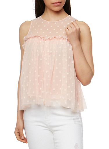 Polka Dot Mesh Yoke Babydoll Top,BLUSH,large