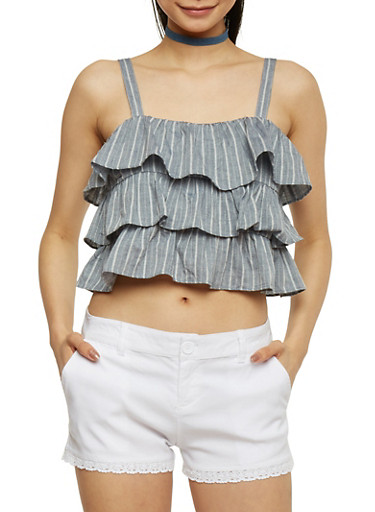 Striped Chambray Tiered Crop Top,NAVY,large