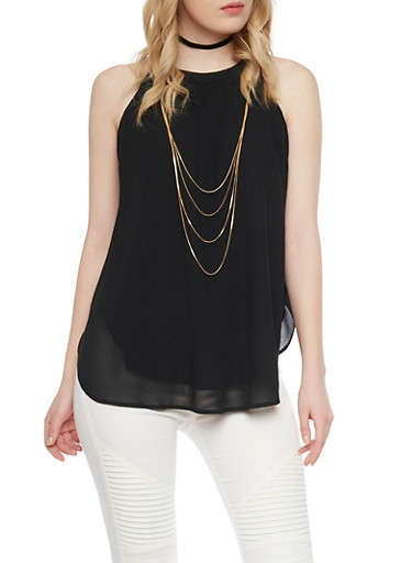 Sleeveless Halter Top With Attached Multi Layered Necklace,BLACK,large