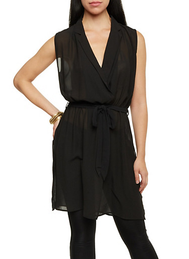 Sleeveless Tunic Top with Tie Waist,BLACK,large