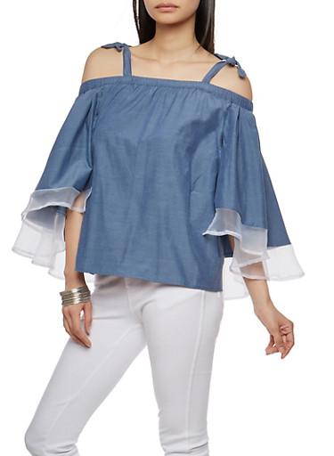 Chambray Tie Off the Shoulder Top,CHAMBRA/WHT,large