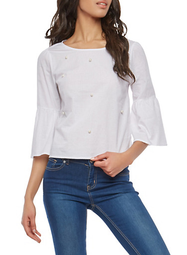 Faux Pearl Studded Top,WHITE,large