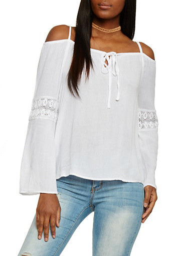 Long Sleeve Cold Shoulder Blouse with Crotchet Inserts,WHITE,large