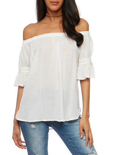 Gauzy Off the Shoulder Peasant Top,IVORY,large