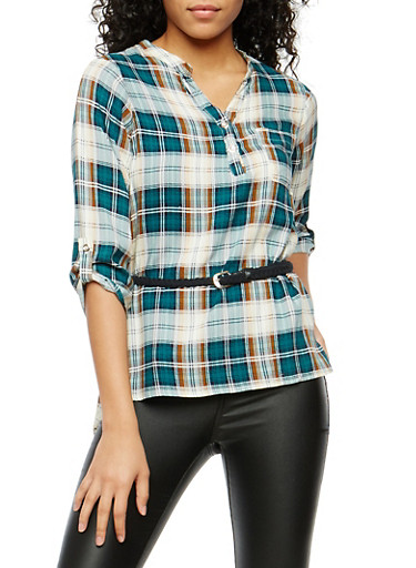 Plaid Henley Belted High Low Top,KELLY GREEN,large