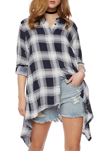 Plaid Button Front Shirt with Sharkbite Hem,WHT/NAVY,large