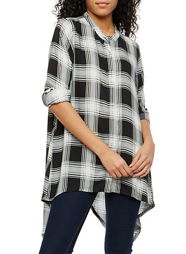Plaid Asymmetrical Button Front Shirt,BLACK/WHITE,large