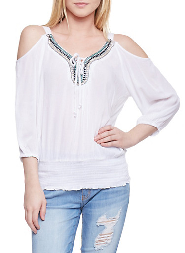 Crinkle Knit Cold Shoulder Peasant Top with Beaded Neckline,WHITE,large