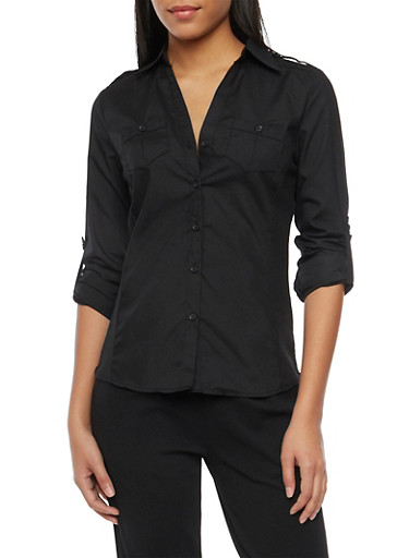 Button Up Top with Tab Sleeves,BLACK,large