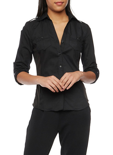 Poplin Button Front Shirt with Rib Knit Panels,BLACK,large