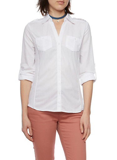 Button Up Shirt with Ribbed Panels,WHITE,large