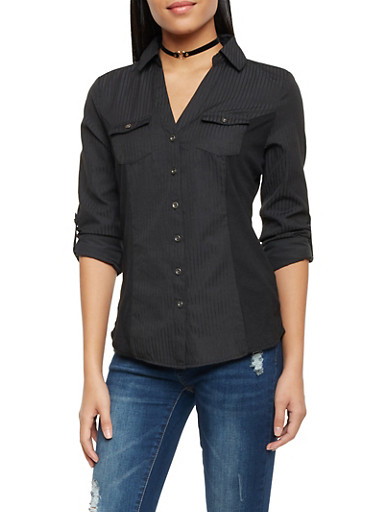 Button Front Shirt with Rib Knit Panels,BLACK,large
