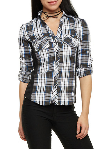 Button Up Plaid Top with Ribbed Panel Sides,BLK/WHT/BLUE,large