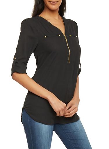 Zip Up V Neck 3/4 Sleeve Top,BLACK,large