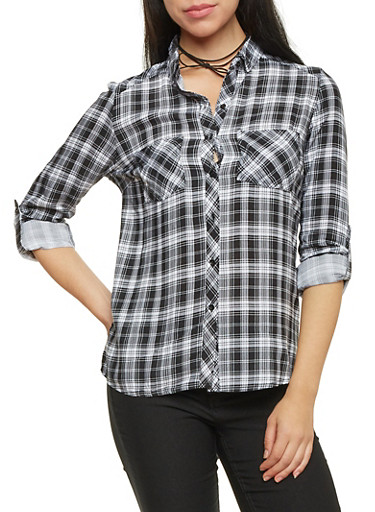 Plaid Button Up Top with Roll Tab Sleeves,BLACK/WHITE,large