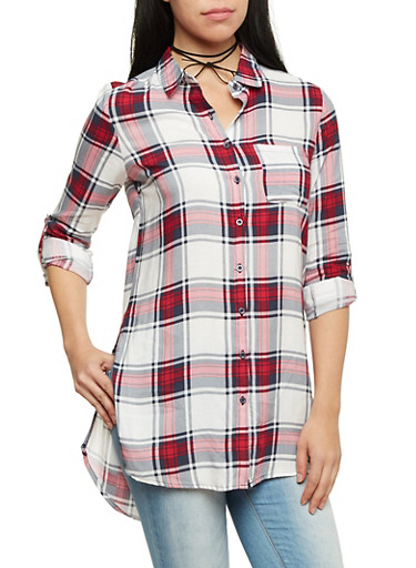 Plaid Tunic Top with Button Up Front,IVY/RED/NAVY,large