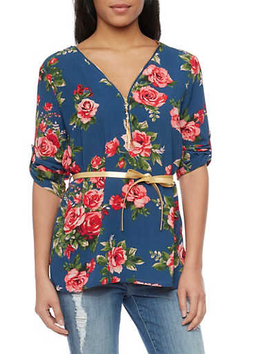 Floral 3/4 Tab Sleeve Belted Top,NAVY,large