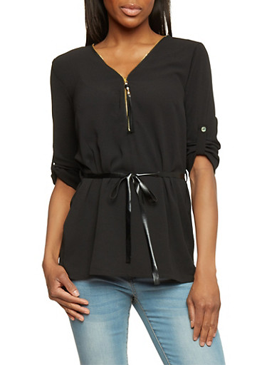 Belted Zip Up V Neck Top with 3/4 Rolled Cuff Sleeves,BLACK,large