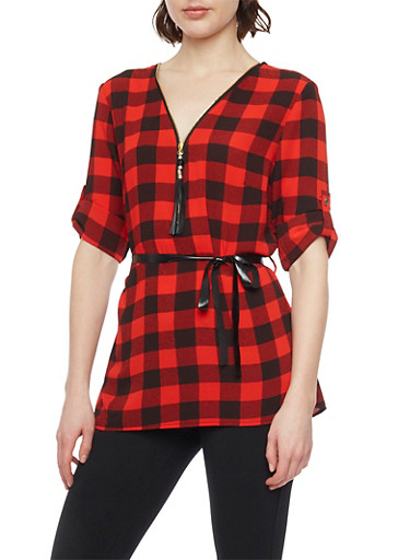 Belted 3/4 Tab Sleeve Checkered Top,BLACK/RED,large