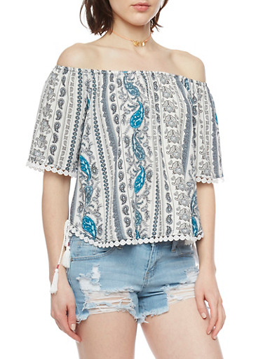 Off The Shoulder Patterned Boho Top with Crochet Trim,IVORY,large