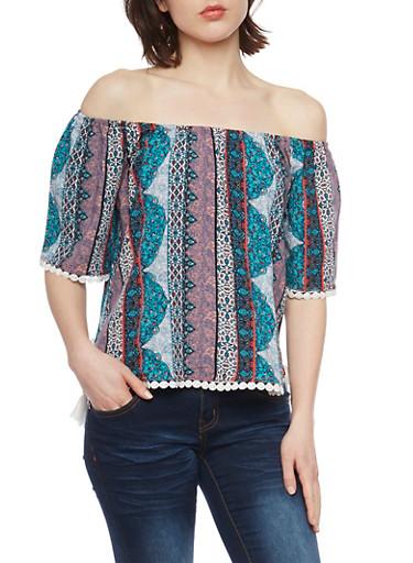 Off The Shoulder Patterned Boho Top with Crochet Trim,TEAL,large