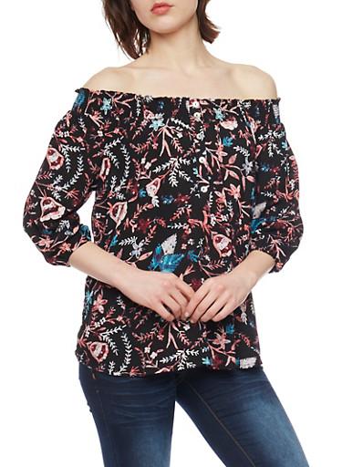 Floral Off The Shoulder Button Up Top with Smocked Neckline,BLACK,large