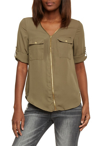 Zip Front Chiffon Top with Tabbed Sleeves,OLIVE,large