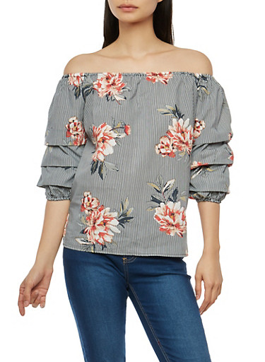 Tiered Sleeve Floral Off the Shoulder Top,BLACK/WHITE,large